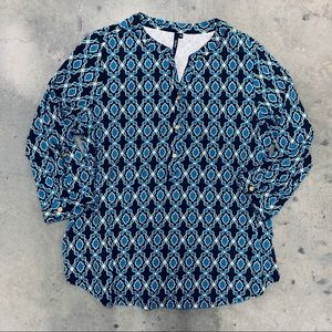 Cathy Blue Geo Print Long Sleeve Top Size XL